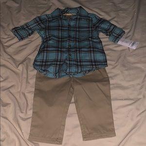 Blue flannel button down with khaki pants